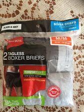 "Mens Hanes 2 Pack Tagless Black & Gray Boxer Briefs Size M(32-34"")  NIP 2349VT"
