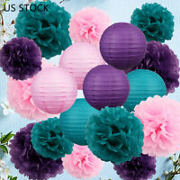 Father's Day Party Decor Tissue Paper PomPoms Paper Lantern Baby Show Wedding US