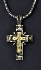 "Konstantino Men's Dotted Cross Pendant Necklace Sterling Bronze 22"" Phidias New"