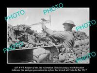 OLD POSTCARD SIZE PHOTO AUSTRALIAN MILITARY, WWI TRENCH GAS INDICATOR c1917