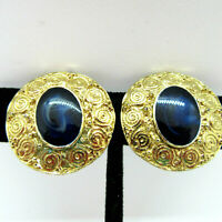 Round Gold Tone Clip On Earrings with Oval Blue Swirl Cabachon Vintage