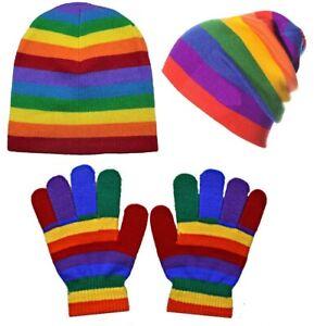 Boys Girls Rainbow Magic Gloves / Beanie Hat Winter Warm Soft Xmas Gift Set New