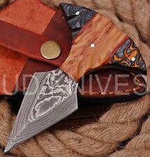 UD CUSTOM HANDMADE 1095 DAMASCUS STEEL  FULL TANG HUNTING KNIFE 9476