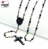 "NEW Black Rose Gold Plated 4mm Bead Guadalupe Jesus Cross 25"" Rosary HR 700 KRGK"