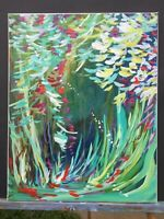 "Original Abstract Landscape painting canvas large art forest 20""x16""x 0.8"""