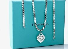 Return To Tiffany & Co Silver Med Heart Tag Pendant Bead Necklace 18.5in 1 8922A