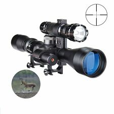 Tactical 3-9X40 Optic Sniper Hunting Rifle Scope with Red Laser Torch Flashlight
