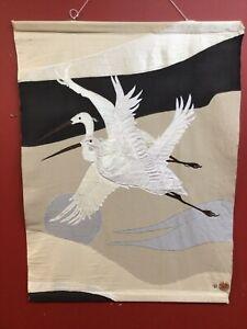 "Vtg 1985 Don Freedman Large Textile Fiber Wall Art Hanging #932 Cranes 35""x45"""