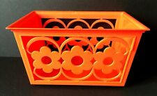 Vintage Plastic Orange Daisy Napkin Basket Holder | Mid Century Modern Kitchen