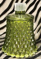 1 Homco Green Diamond Point Peg Votive Pressed Glass Candle Holder