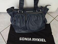 Sac Sonia RYKIEL cuir grainé bleu marine Comme Neuf! Valeur 595€