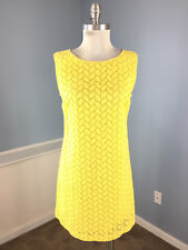 Ann Taylor Loft S 6 Yellow Eyelet Shift dress Career Cocktail CUTE!
