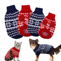 Dog Knitted Jumper Polo Neck Warm Sweater Pet Puppy Cat Xmas Clothes Chihuahua