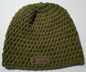 Krochet Kids International Womens Olive grn Beanie Hat, Handmade, Wool & Acrylic