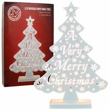 Warm White LED Wooden Tree Light - A Very Merry Christmas - 81110
