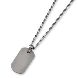"""Chisel Titanium .02ct. Diamond Accent Necklace 22"""""""