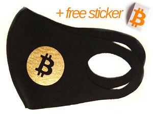 Bitcoin Face Mask - Gold B - Washable Mask - Cycling Surveillance Crypto Fashion