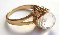 Belle bague bijou vintage couleur or perle de verre cristaux diamant taille 58