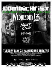COMBICHRIST / WEDNESDAY 13 /NIGHT CLUB /PRISON 2018 PORTLAND CONCERT TOUR POSTER
