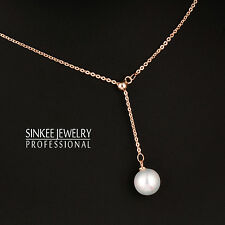 2017 Women Simply White Pearl Long Pendant Necklace Chain 18K Rose Gold Xl614