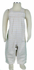 JACADI Girl's Mansion Broken White / Sky Plaid Overalls Size 6 Months NWT $60
