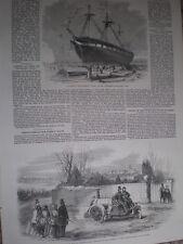 Rickett steam carriage motor car 1860 old print