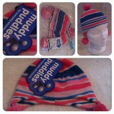 Girls Kids Childrens Fleece Lined Ski Hat Mittens Velcro Pink Winter Warm Beanie 2 Hats