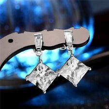 18K Blanco relleno de oro Aretes Hechos Con Cristales Swarovski Cuadrado WGF8