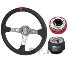 94-04 Mustang Deep Dish 350mm PVC Steering Wheel Chrome/Red+Hub+Quick Release
