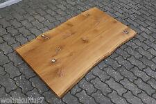 Tischplatte Platte Eiche Wild mit Zinn Massiv Holz mit Baumkante NEU Leimholz