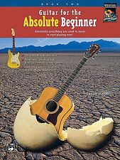 "ALFRED ""GUITAR FOR THE ABSOLUTE BEGINNER"" MUSIC BOOK 2-TWO/CD BRAND NEW ON SALE"