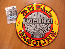 PLAQUE EMAILLEE BOMBEE huile moteur SHELL  aviation GASOLINE enameled tin sign