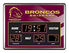 26400 BRISBANE BRONCOS NRL SCOREBOARD CLOCK LED DATE TIME THERMOMETER SCORE
