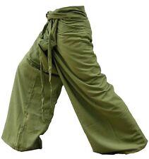 Olive Cotton Drill Thai Fisherman Yoga Pants Freesize Relaxation