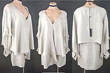 $485.00 Thomas Wylde Tunic Dress S Beige 100%Silk V neck Formal Flared Maternity
