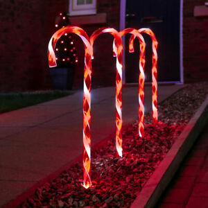 10Pcs LED Christmas Candy Cane Pathway Marker Lights Outdoor Garden *US STOCK*