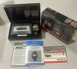 VINTAGE CASIO BP 100 BLOOD PRESSURE MONITOR WATCH COMPLETE IN BOX NEVER USED NEW