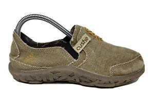Cushe Boys Canvas Slip-On Olive Green Shoes Size 2 GUC
