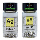 Silver metal element 47 Ag shiny pellets 3 grams 99.99 in labeled glass vial