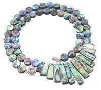 "Big Natural 43x58mm Paua Abalone Shell Necklace 20/"""