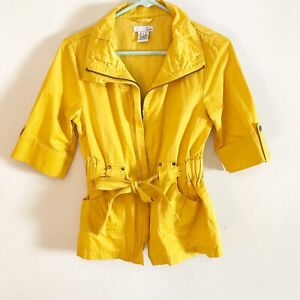 Luii Anthropologie Yellow Crop Sleeve Jacket With Tie Waist Size Small