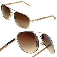 COACH Ladies GOLD METAL PILOT SUNGLASSES
