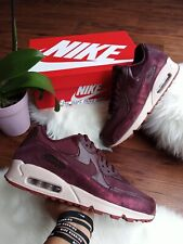 SIZE 10 WOMEN'S NIKE AIR MAX 90 PRM BURGUNDY DARK PURPLE 896497 604 RUNNING