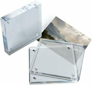 Set of 2 Acrylic Picture Frames, Double Sided Frames, 4x4 Picture Frame Acrylic