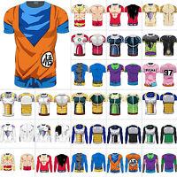 Mens 3D Fitness Tee Saiyan Goku DBZ Compression Shirt Dragon Ball Z T-shirt Tops