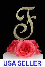 "Large Rhinestone Crystal Monogram ""A"" Wedding Cake Topper 5"" inch High Gold"
