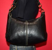 ROOTS Black Prince Leather Smaller Shoulder Hobo Satchel Tote Purse Bag CANADA