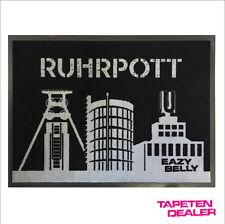 Ruhrpott Fußmatte / Ruhrgebiet / Ruhrgebiet Fussmatte / Schwarz / 50 cm * 70 cm
