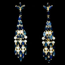 NATURAL BLUE SAPPHIRE & WHITE CZ STERLING 925 SILVER EARRINGS