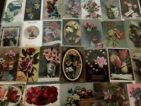 LOT of 30~ROSES & FLOWERS~Photos Tinted Florals~Postcards Shabby~Greetings-b254